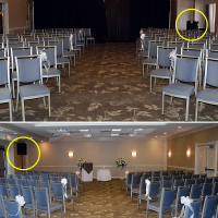 Ceremony setup in the Harbour Ballroom. Top: Sound system tucked away in the back corner. Bottom: speaker up front, well off to the side.