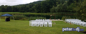 Wedding DJ Peter Naughton's outdoor setup for Tiffany and Matt's ceremony at Wolf Oak Acres