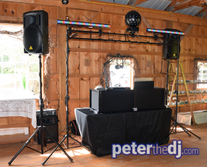 Wedding DJ setup at Amber and Nate's wedding at Our Farm, Manlius / Cazenovia, NY. Photo by wedding DJ Peter Naughton