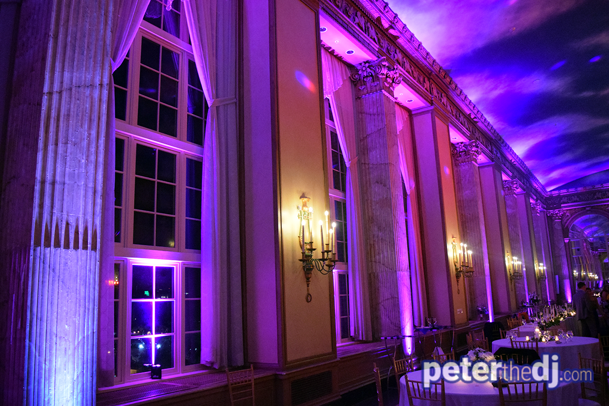 Uplighting for Liz and Brian's wedding reception in the Grand Ballroom at Syracuse Marriott Downtown. Photo by DJ Peter Naughton peterthedj.com July 2019.